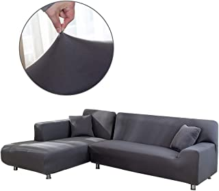 Cepheus L Shape Couch Covers, Anti-Slip Stain Resistant Sectional Slipcovers, Stretch Elastic Fabric L-Shaped Sofa Slipcover with 1pcs Free Pillow Covers (L-Shape Sofa Left 3+3 Seats, Grey)