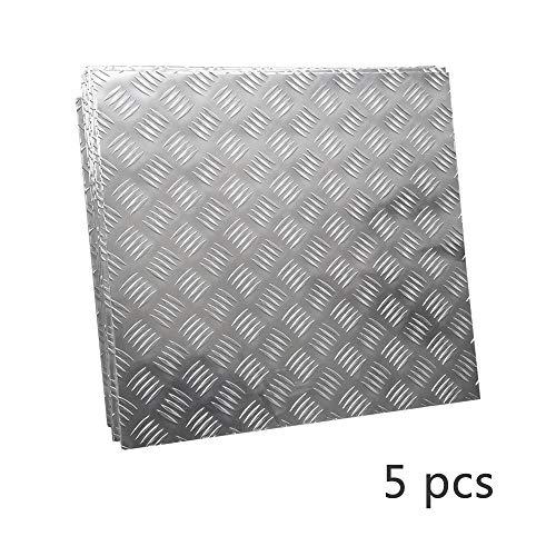 JKGHK Aluminio Chapa Estriada,Se Puede Usar para Antideslizante Dentro del Automóvil (5 Piezas),100mm x 100mm x 3mm
