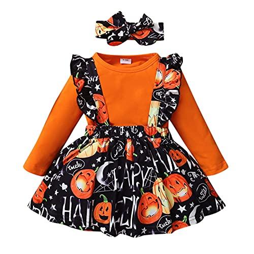 BIBOKAOKE Neugeborene Baby Mädchen Halloween Hosenträger Rock Outfits Langarm Rüschen Strampler Kleid Bowknot Stirnband Kleidungsset Kleinkind Kleidung Set Halloween Babyset Bekleidungsset