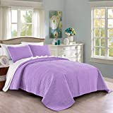 Quilt Set King/Cal King/California King Size Lilac - Oversized Bedspread - Soft Microfiber Lightweight Coverlet for All Season - 3 Piece Includes 1 Quilt and 2 Shams, Geometric Pattern