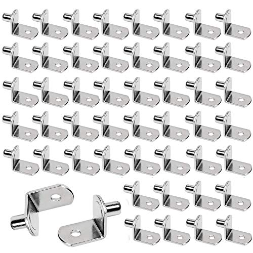50 Piezas Soporte de Baldas 6mm, Clavijas de Soporte de Estante en Forma de L, Clavijas de Soporte de Estante, para Estantes Muebles Armario Estantería Librería