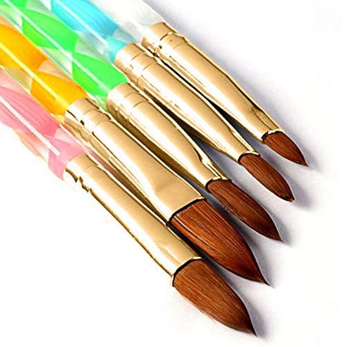 Nageldesign-Set mit rundem Zobel-Motiv, 5 Stück, Acryl-Nagelkunst, UV-Gel, DIY-Pinselstift, Nagelkunst, Werkzeug-Set Nr. 2/4/6/8/10.