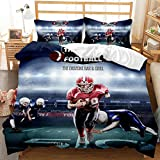 Football - Juego de funda de edredón 3D estampada de microfibra, juego deportivo de cama con dormitorio, incluye 1 funda de edredón y 2 fundas de almohada (A#, 260 x 230 cm)