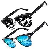 CGID MJ56 Occhiali da Sole Premium classico Polarizzati Ispirazione Mezza Montatura Occhiali con Rivetti in Metallo per uomo e donna,2 pezzi