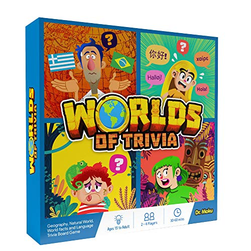 Worlds of Trivia - Geography Board Game for Teens, Family & Adults - Flags & Capitals, US States, Animal Kingdom, World Records, Biology - Learn Languages, Facts, Riddles & Word Games
