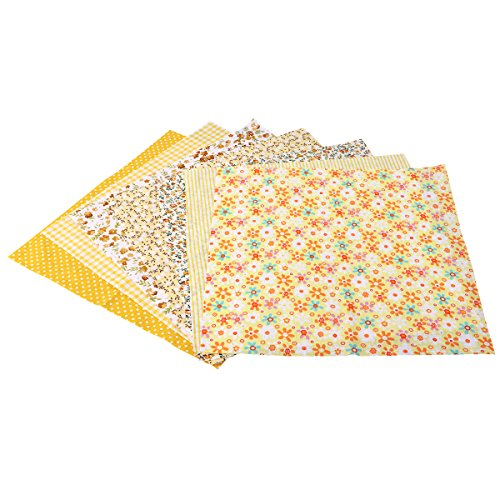 Rosenice - 7 piezas de tela de algodón de retales cuadrados para coser flores para manualidades (amarillo)