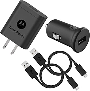 Motorola TurboPower 18 QC3.0 Micro-USB Bundle: TurboPower 18 Car + Wall Chargers with 2 SKN6461A Micro USB Data Cables for...