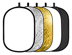 Neewer 5 in 1 Collapsible Multi Photography Studio Reflector is a helpful accessory for any type of photographer Includes 5 different reflectors (silver, gold, white, black, and translucent fabric) Collapses to a small size; Comes with a convenient c...