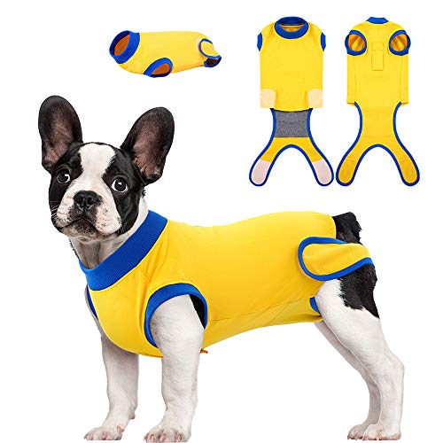 Kuoser Recovery Suit for Dogs Cats After Surgery, Professional Pet Recovery Shirt for Male Female Dog Abdominal Wounds Bandages, Substitute E-Collar & Cone, Prevent Licking Dog Onesies Snugly Suit M