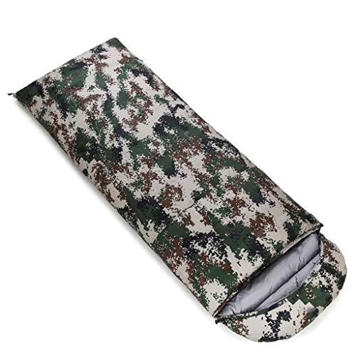 DAFREW Sac de Couchage d'enveloppe, Sac de Couchage extérieur Quatre Saisons avec Sac de Compression (Couleur : Camouflage, Taille : 0.4KG)