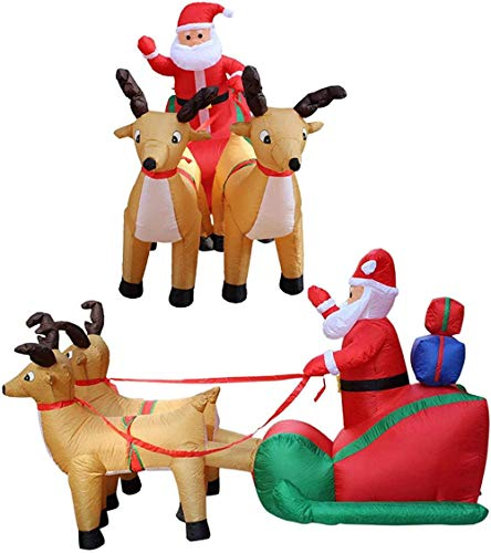 7ft Christmas Self Inflating Santa Claus In Sleigh With Two Reindeer Exploding Yard LED Lights Christmas Indoor Outdoor Decorations For Family Xmas