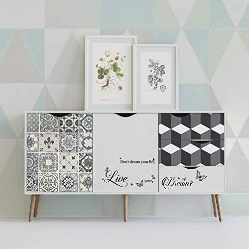 WALPLUS tegel- en geometrisch patroon zelfklevende muursticker, Vinyl, meerkleurig, 90 x 60 x 4 cm