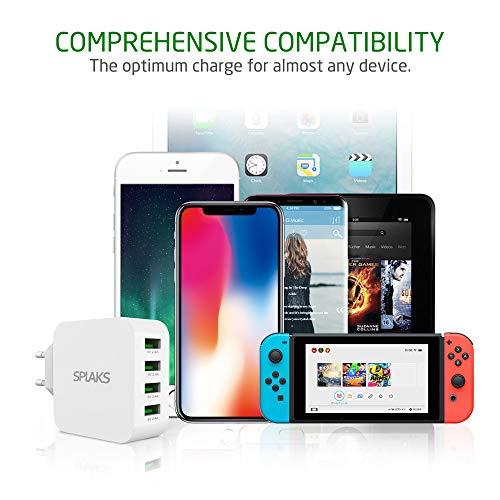 SPLAKS USB Ladegerät 4-Port 40W 8A USB Netzteil Mehrfach Ladestecker für iPhone SE/11/XR/Xs/X/8/7/6s iPad Samsung Galaxy Huawei HTC Sony Smartphones Tablets usw. -Weiß
