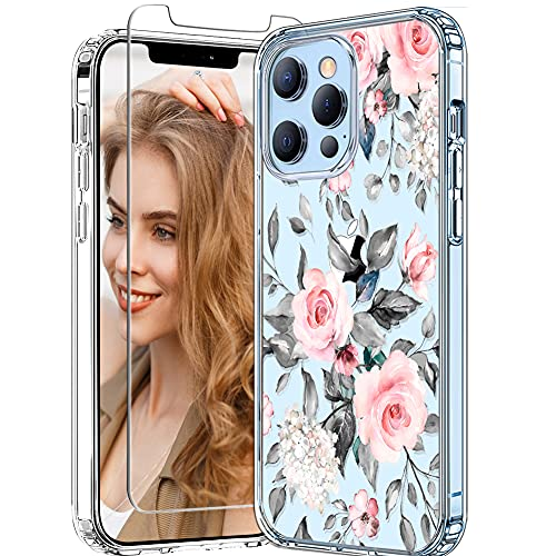 iDLike for iPhone 13 Pro Max Case with Screen Protector for Women Girls, Clear Floral Flower Pattern Cute Design Hard Back Soft TPU Bumper Protective Case for iPhone 13 Pro Max 6.7,Gray Rose