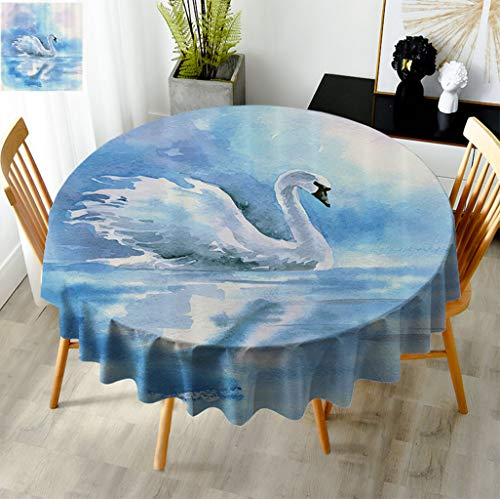 Fogoodecor Animal Round Dinner Tablecloth, Watercolor Drawing Picture of A Swan in The River Hazy Color Aqua Concept Picture Print Table Cloth for Outdoor Picnic Kitchen, Diameter 70' Blue White