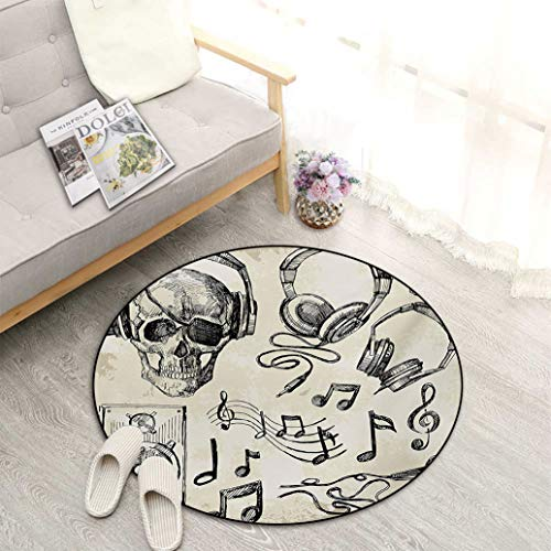 "Music Best Non-Slip Round Area Rug, Sketchy Background Hipster Skull with Headphones Record Player Mic Speakers Print Perfect Mats for Any Indoor Uses and Decorations, Diameter 27"" Beige Black"