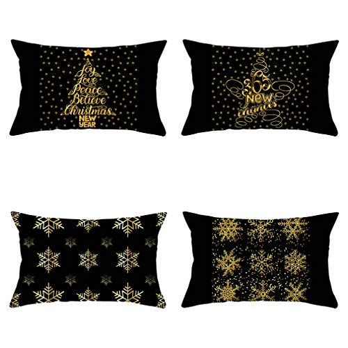 Nunubee - Juego De 4 Fundas De Almohada Decorativas con Motivos De Copos De Nieve Navideños, Fundas De Almohada para Sofá Y Decoración De Oficina (Color De La Imagen, 50 X 30 Cm)