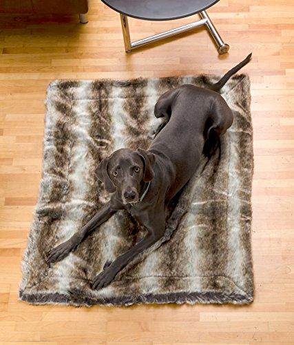 Felldecke aus Webpelzdecke, Hundedecke Wolf grau-braun 90x110