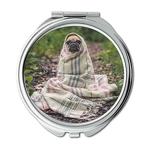 Yanteng Spiegel, Schminkspiegel, Mops Hund Haustier Tier Welpe Cute Wrapped Blanket, Taschenspiegel, Tragbare Spiegel