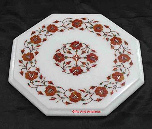 Cadeaus en artefacten Octagon wit marmer bijzettafel tafelblad eindtafel met rode jaspis edelstenen met ingelegde werk elegante look tuinbank zijtafel, 15 inch