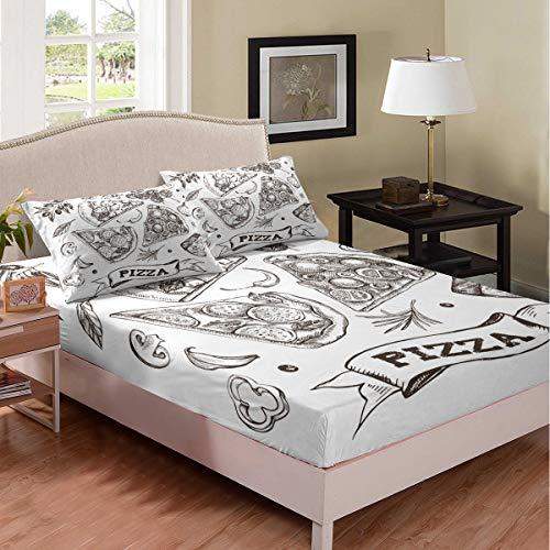 Tbrand Juego de sábanas de pizza de dibujos animados, estilo retro, elegante, para niños y niñas, con impresión de pizza, juego de sábanas resistente a las manchas, decoración de habitación doble