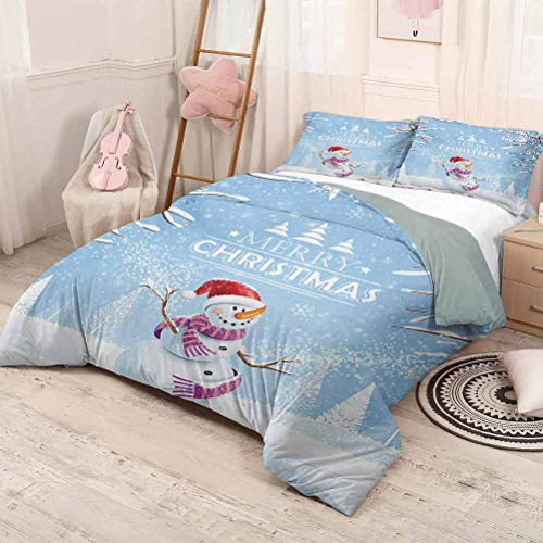 prunushome Christmas Three-Piece Bed Duvet Cover Cute Snowman in a Snowy Winter Day with Xmas Hat Frosty Noel Kids Nursery Theme Modern Style Lightweight Durable White Blue Full Size