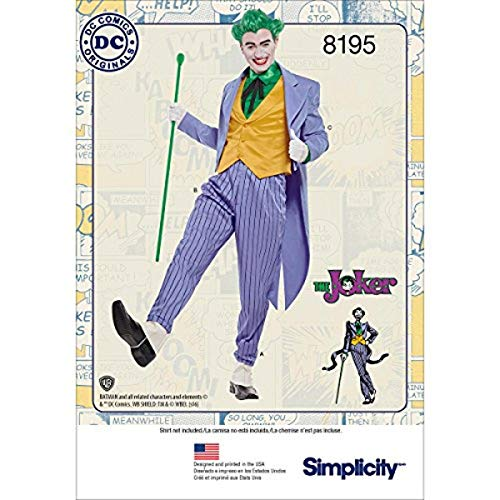 Simplicity 8195 DC Comics Men's Joker Halloween and Cosplay Costume Sewing Pattern, Sizes 46-52
