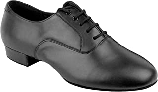 Go Go Dance Shoes Men's Black Leather Ballroom Shoes