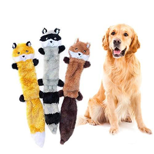 HyiFMY 3pack sin Relleno chirrido Peluche Juguete de Perro, Peluche Lindos Animales Masticar Juguete, para Perros pequeños a medianos Cachorro-Mapache