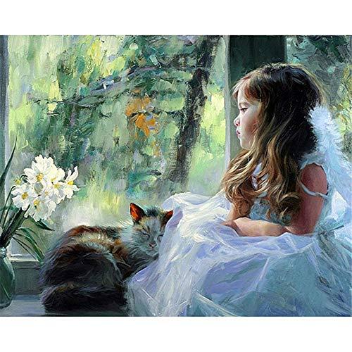 JHDGL Verf door cijfers Bruidsjurk voor Volwassenen Kinderen Beginner DIY Digitale Olieverfschilderij 16 * 20 inch met Borstels en Acryl Pigment (Frameless)