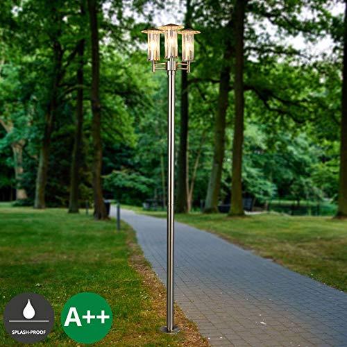 Lampenwelt Mastleuchte außen \'Filko\' (spritzwassergeschützt) (Modern) in Alu aus Edelstahl (3 flammig, E27, A++) - Kandelaber, Außenleuchte