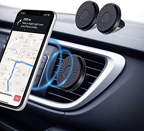 Amazon Brand - Eono Porta Cellulare da Auto Magnetico, (2 Pezzi) Calamita per Cellulare auto, Sistema a 6 N50 Magneti, Porta Telefono Auto per iPhone, Samsung, Huawei e GPS