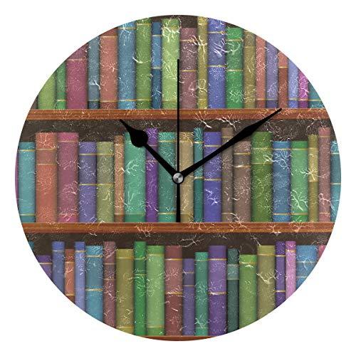 DEZIRO Bibliotheek Planken Met Oude Boeken Patroon Beste Alarm Klok Ronde Muur Klok hangstandaard Grote Klok