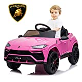 SEGMART Kids Electric Ride-on Car, Licensed Lamborghini Urus Ride-on Motorized Car for Kids, 12v Remote Control Electric Vehicle Toys for 1~3yr Boys Girls, w/Remote/Music Player/Lighting, Pink