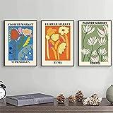 HHLSS Kunstposter 3 Stück 50x70 cm rahmenloser Blumenmarkt