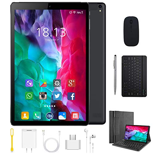 Tablet 10.1 Pulgadas 4G Android 9.0 Quad Core DUODUOGO P8 Tablet 4GB RAM 64GB ROM/128GB Escalables 8000mAh Doble SIM/Cámara Tablet PC Google GMS Netfilx WiFi (Estándar Teclado y Mouse, Negro)