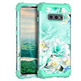 Casetego Compatible with Galaxy S10 E Case,Floral Three Layer Heavy Duty Hybrid Sturdy Shockproof Full Body Protective Cover Case for Samsung Galaxy S10 E,Green/White