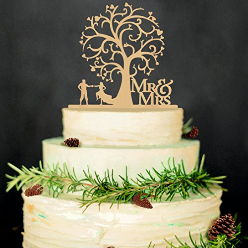 Losuya Rustic Wooden Tree Mr Mrs Cake Toppers Wedding Party Cupcake Decoration
