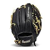 Franklin Sports Pro Flex Hybrid Series Baseball Fielding Glove, Right Hand Throw, 12-Inch, Black/Camel
