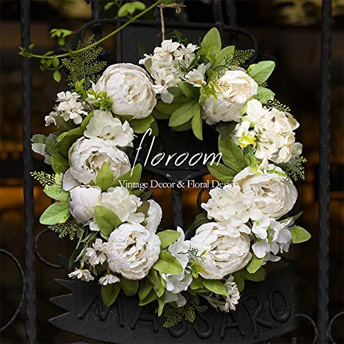 Floral Wreath, Door Wreath, Artificial White Peony Wreath for Front Door 15''-16'', Front Door Decorations Wall Decor
