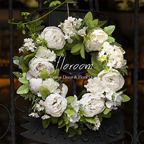 Floral Wreath, Door Wreath, Artificial White Peony Wreath for Front Door 15''-16'', Front Door Decorations Wall Decor