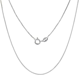 Sterling Silver Box Chain Necklace 0.8mm Very Thin Nickel Free Italy, Sizes 7-30 inch