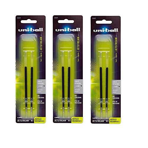 uni-ball Jetstream RT Ballpoint Pen Refills, Bold Point (1.0mm), Black, 6 Count