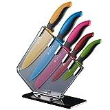 GRÄWE Messer-Set 6-teilig, bunt, Antihaft-Klingen, rutschfeste Griffe, Acryl-Messerhalter, Kochmesser, Küchenmesser, Gemüsemesser, Allzweckmesser, Brotmesser