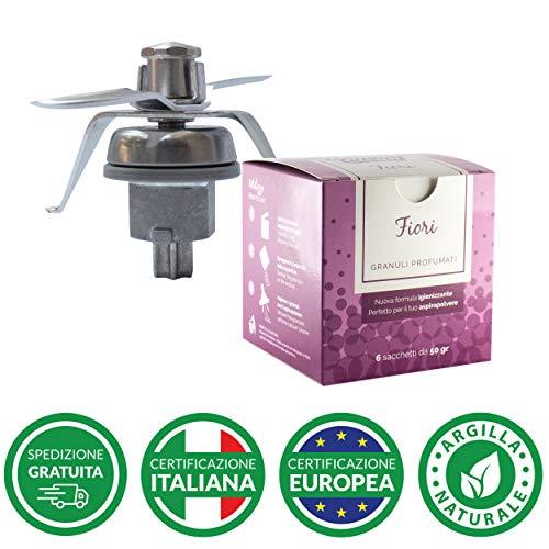 Kit Gruppo coltelli TM21 per robot da cucina Bimby Vorwerk adattabile + Domus Clean Granuli profumati per aspirapolvere - Varie fragranze (Fiori)