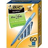 BIC BICGSM609BEBN Round Stic Xtra Life Ball Pen, Blue, Medium Point, 60 Per Pack, 2 Packs