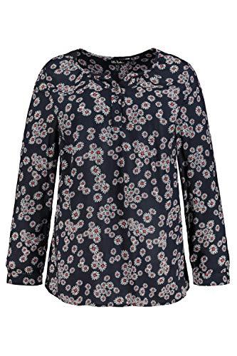 Ulla Popken Damen große Größen Gänseblümchenprint Tunika-Shirt, schwarz, 58+