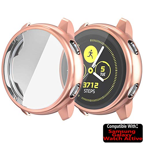 TASLAR Soft TPU Bumper Full Coverage Screen Guard Protector Cover Case Compatible with Samsung Galaxy Watch Active 40mm (Rose Gold)