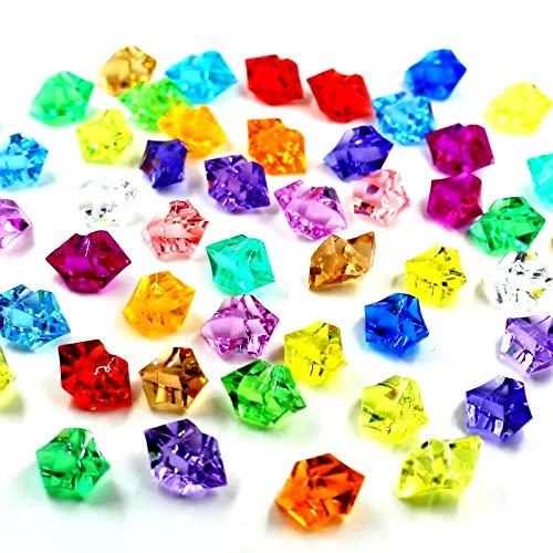 Ayrio 250PCS Cristales de acrílico Rocas de hielo Piedras de gemas de colores para rellenos de jarrones, Dispersión de mesa, Favor de la fiesta, Decoración de bodas, Artesanías (multicolor, 2.5 cm)