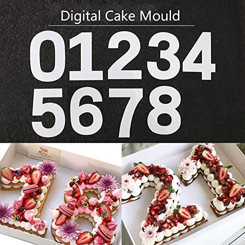 Molde para tartas con número grande de 0 a 8 números, herramienta de horneado para glaseado con capas, crema, frutas, tartas, bodas, cumpleaños, etc. 22cm12'' Numbers